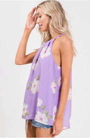 SV-A {Fab In Floral} Lavender Sleeveless Halter Top SALE!!