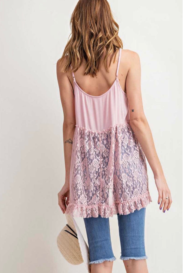 SV-A {Fierce Love} Mauve Spaghetti Strap Top with Lace