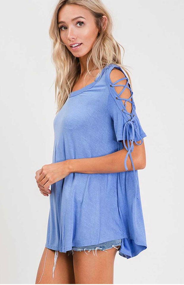 OS-B {Falling For You} Blue Top with Lace-Up Sleeves