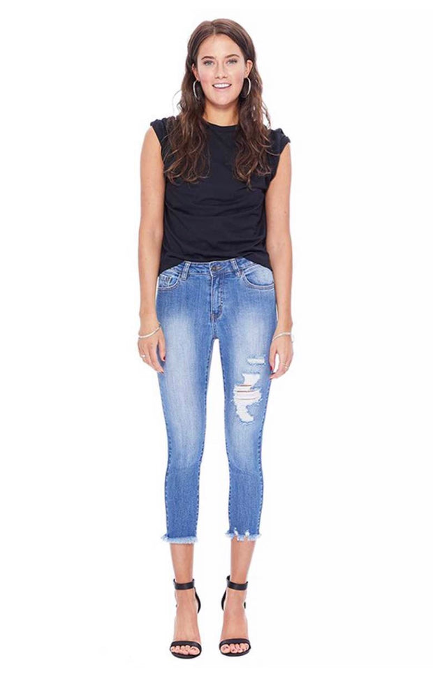 BT-B {Days Gone By} Distressed Denim Crop Jeans Frayed Hem