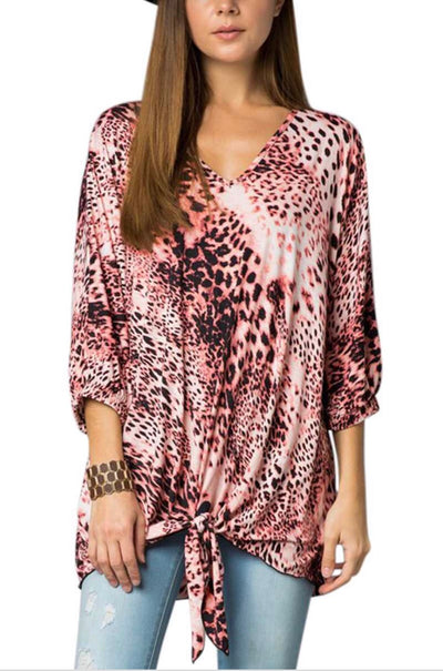 PQ-A {Call Of The Wild} Coral Leopard Top with Front Tie