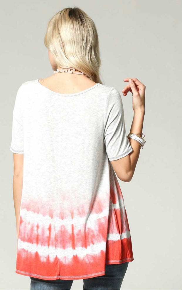 CP-F {How Sweet} Gray/Coral Gradient Dye Top