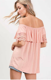 OS-A {Eyes On Her} Off-Shoulder Top with Lace Detail Sleeves