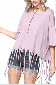 SSS-B {Always Upbeat} Dusty Lilac Top with Fringe Detail SALE!!