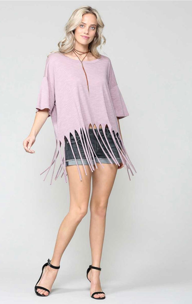 SSS-B {Always Upbeat} Dusty Lilac Top with Fringe Detail