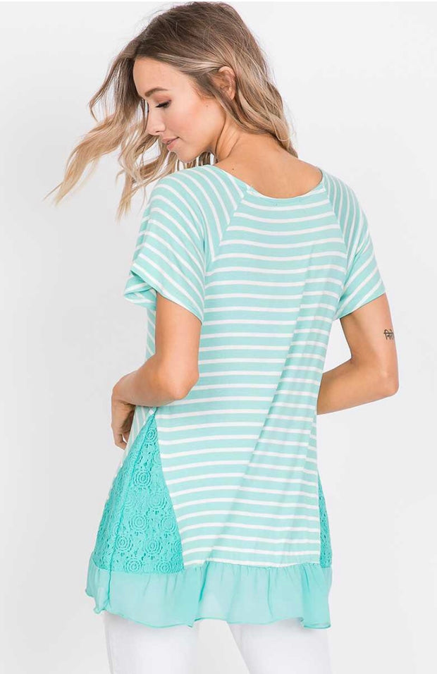 CP-M {Mint To Tell You} Striped Top with Lace Detail Sides