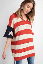 HD-A {Old Glory} Flag Print Sweater Hoodie Top