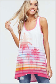 GT-C {Paradise Island} Colorful Palm Tree Print Tank Top
