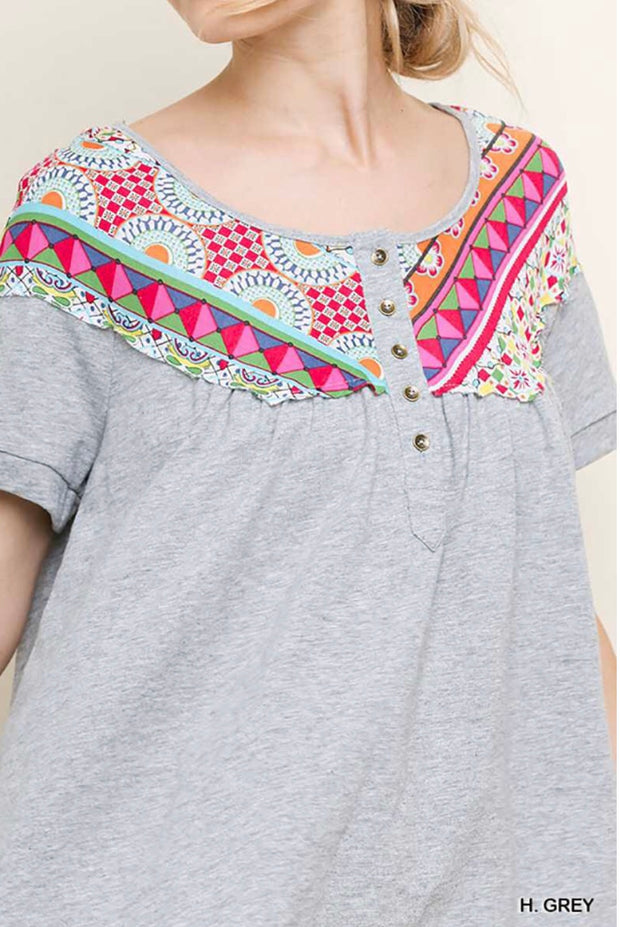 "CP-D {One True Love} ""UMGEE"" Gray/Multi Top w/Buttons"