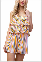 RP-A {Find Me In Hawaii} Striped Romper Ruffle Yoke
