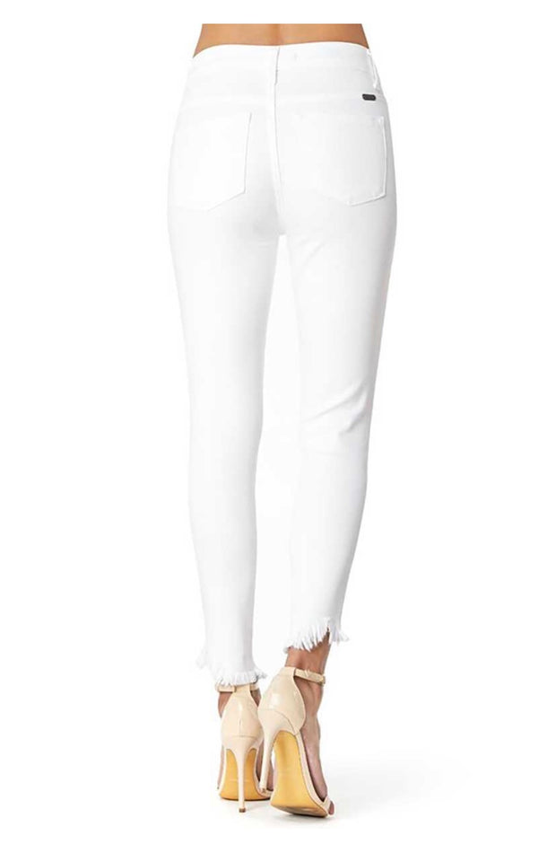 BT-C {Live In The Moment} White Denim Jeans Frayed Hem