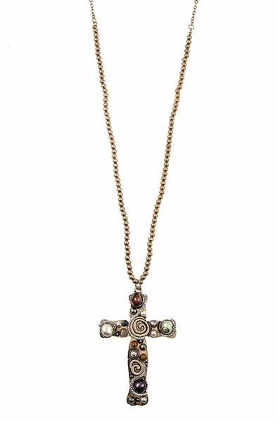 NC-C {Beautifully Bold} Charming Beaded Chain with Spunky Design on Cross