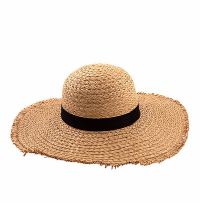 HAT{Catch Some Rays} Beach Hat with Black Strap
