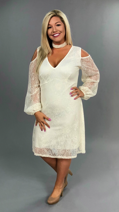 OS-N {Essentially Yours} Ivory Dress with Lace Overlay