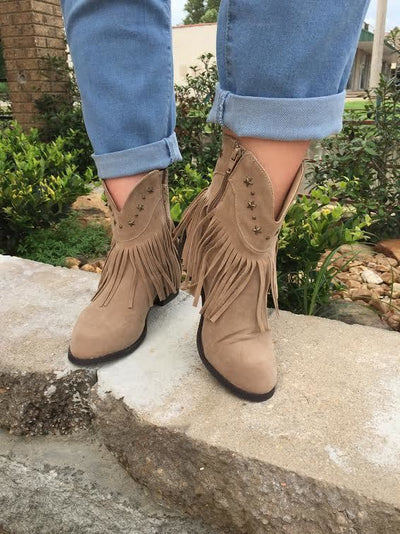 SHOES {Adriana} Beige Cowboy Style Boots with Star Studs & Fringe Detail