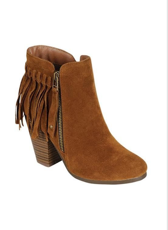 SHOES {Just My Style} Tan Fringed Boots with Platform Heel & Side Zipper