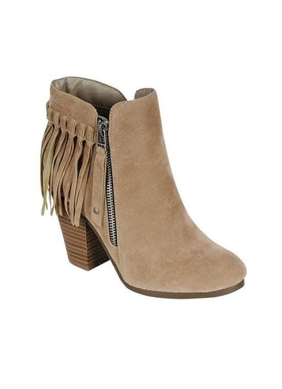 SHOES YOKI- BEIGE Fringed Booties with Platform Heel & Side Zipper
