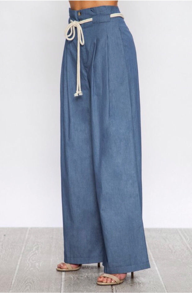 BT-C {Call On Me} Blue Pleated Wide-Leg Pants with Rope Belt