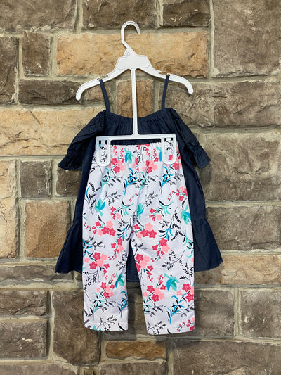 KIDS {Diva Vibes} Denim Top W/Floral Print Capri Set SALE!!