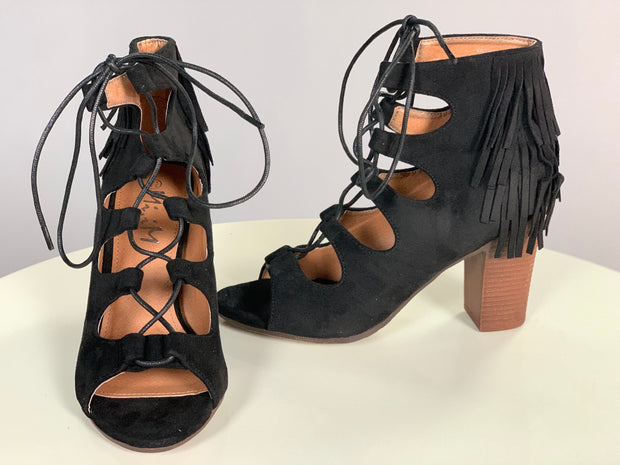 SHOES {Miim} Black Suede Fringed Lace Up Heels Shoes