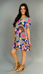 PSS-A {Chic In The City} Blue Mandala Print Ruffle Sleeve Tunic