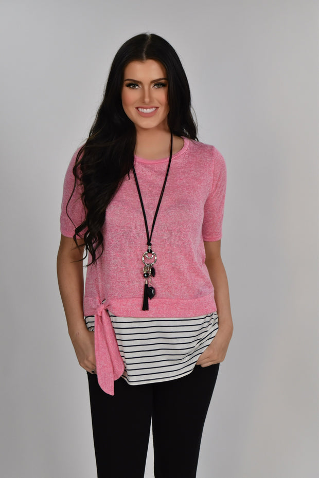 CP-E {Drawing The Line} Pink Top with Striped Contrast