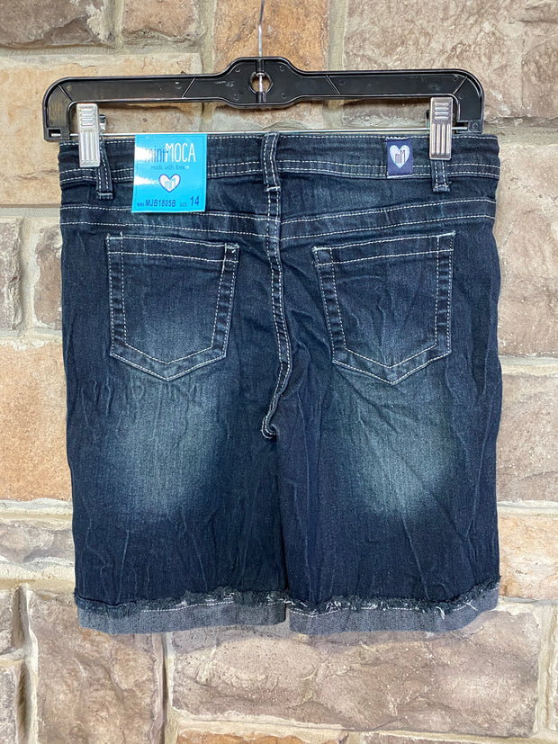 KIDS {Denim & Blues} Navy Stretch Denim Bermuda Shorts SALE!!