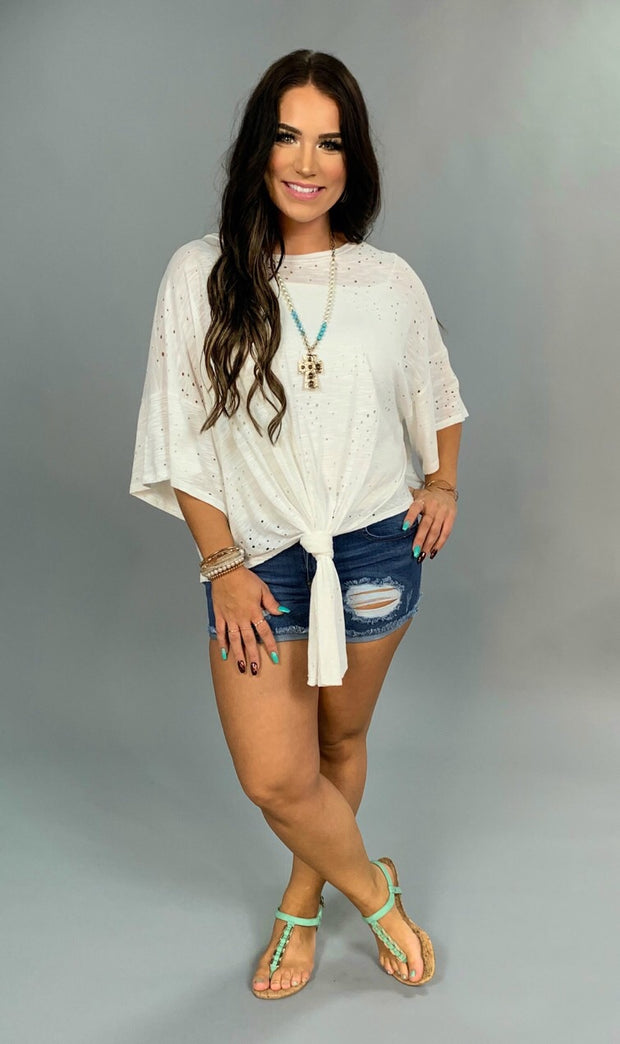 SSS-C {Can't Touch This} White Holey Top with Knot Detail