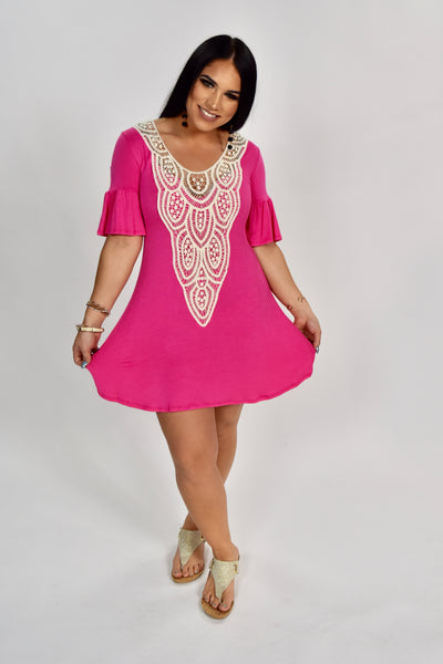 SD-X {Lovely Dreamer} Pink Tunic with Crochet Lace Detail