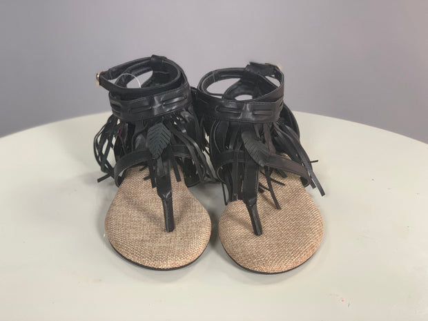 SHOES {JACOBIES} Black Leather Fringe Down Flat Sandals