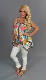 SV-M {Rule The World} Floral Print Top with Spaghetti Straps