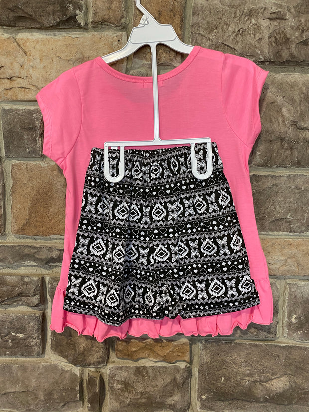 KIDS {Butterfly Garden} Pink Graphic Tee Black Print Shorts Set