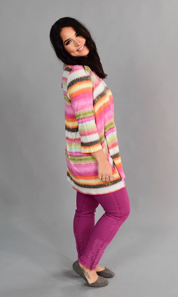 PQ-E {Dreaming Of Spring} Pink Rainbow Cage Neck Top