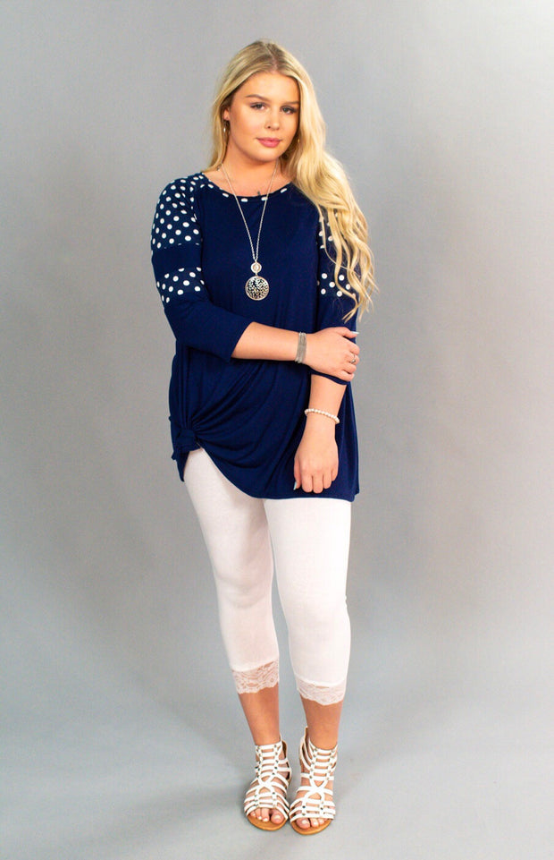 CP-F {Enough For Me} Blue Tunic with Polka-Dot Sleeves