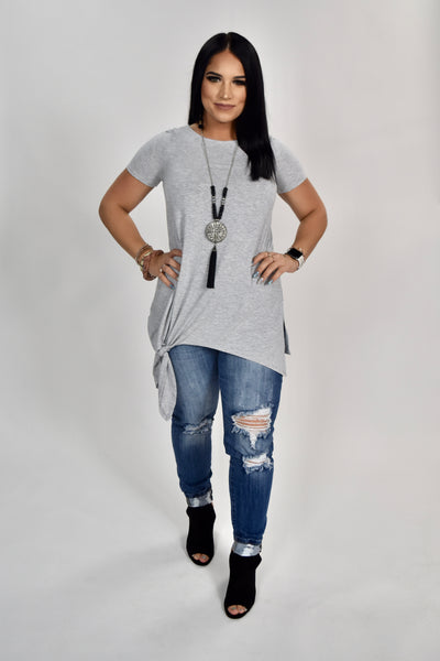 SSS-M {Free To Be Me} Gray Top with Side Knot Detail