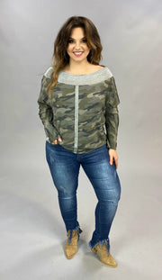 10-20 OS-C {Ready For Duty} Camo Grey Contrast Top SIZE S M L