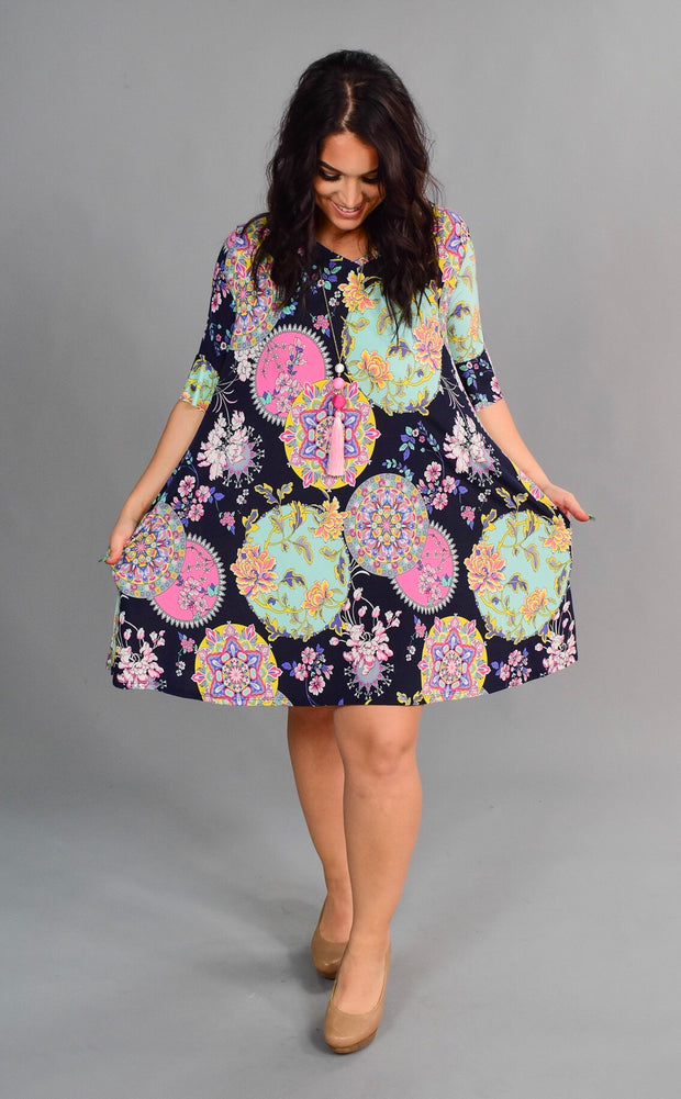 "PSS-W  ""My Way"" Black/Mint Mandala Print Tunic"