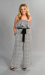 RP-J {I Run To You} Black/Ivory Printed Jumpsuit with Belt SALE!!