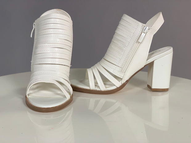 SHOES {Nature Breeze} White Open Toe  With Zipper
