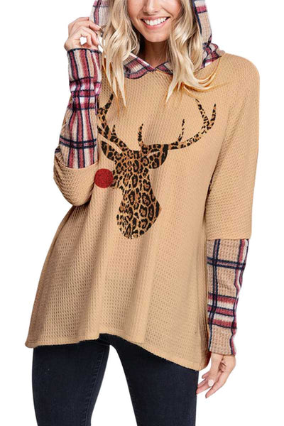 10-20 HD-D {Feel It Still} Light Mocha Reindeer Waffle Hoodie SIZE S M L