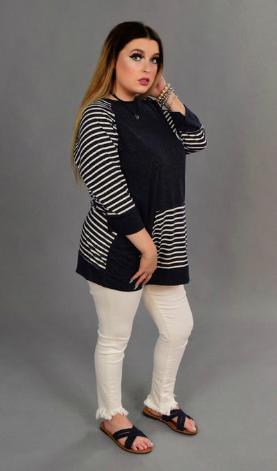 CP-B {UMGEE} Navy Top with Striped Sleeves & Pocket