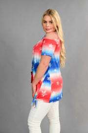 OS-G {USA Fun} Patriotic Stars Cold-Shoulder Top