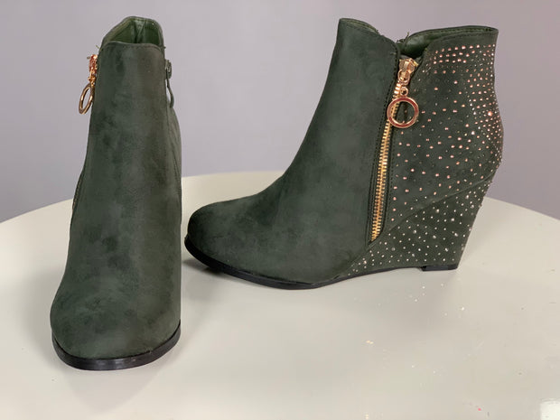 SHOES {Weeboo} Olive Suede Booties w/ Rhinestone Detail