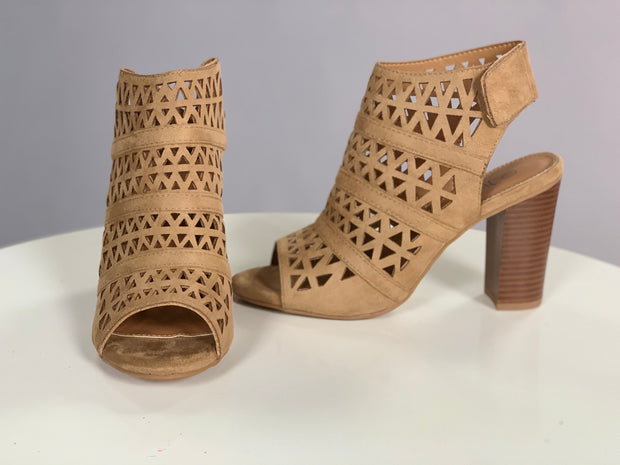 SHOES {Nature Breeze} Beige Suede Detailed Booties with Heel Shoes