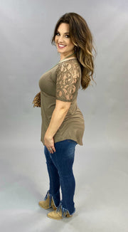 SSS-G {Lovely As Ever} Mocha V-Neck Top W/ Lace Sleeve Detail