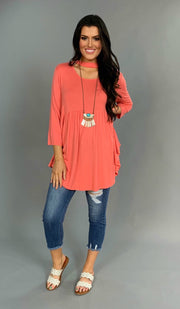 SQ-C {Beverly Hills} Coral Top with Mock Neck Detail