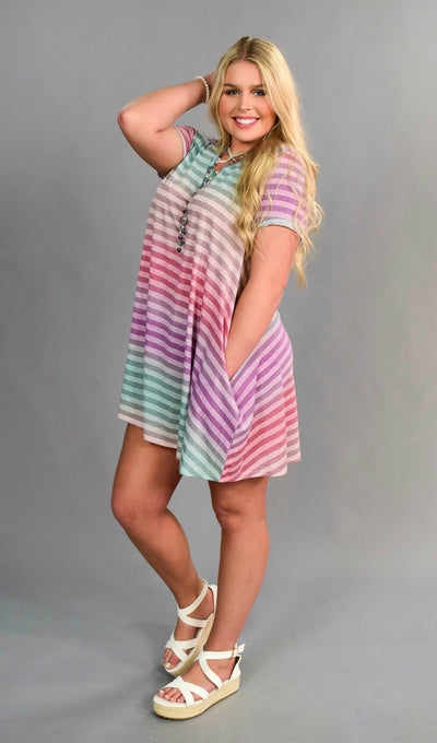PSS-P {Let's Chat} Lavender Rainbow Striped Top SALE!!