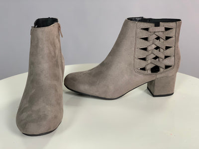 SHOES {City Classified} Gray Suede Booties with Woven Strap Detail