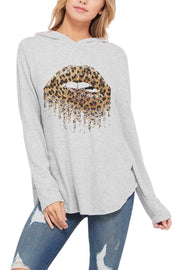 10-20 HD-L {Girl Gone Leopard} Grey Hoodie With Leopard Lips SIZE S M L