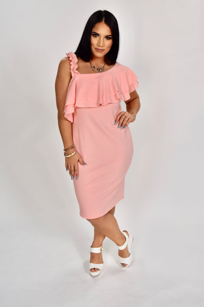 OS-K {Easy To Love} Pink Off-Shoulder Dress with Ruffle Strap